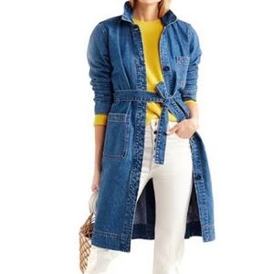 J. Crew Belted Denim Duster Trench Coat size XS